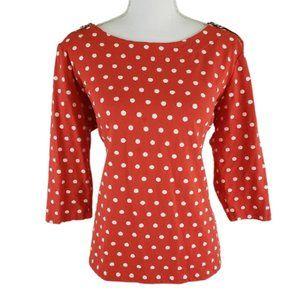 THOMAS & OLIVIA Red & White Blouse, Polka Dots, XL